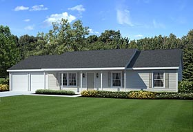 Ranch , Traditional House Plan 34055 with 4 Beds, 2 Baths, 2 Car Garage Elevation