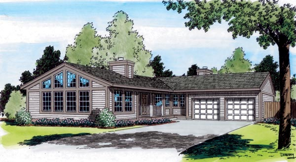 Contemporary, One-Story, Ranch, Traditional House Plan 34064 with 3 Beds, 2 Baths, 2 Car Garage Front Elevation