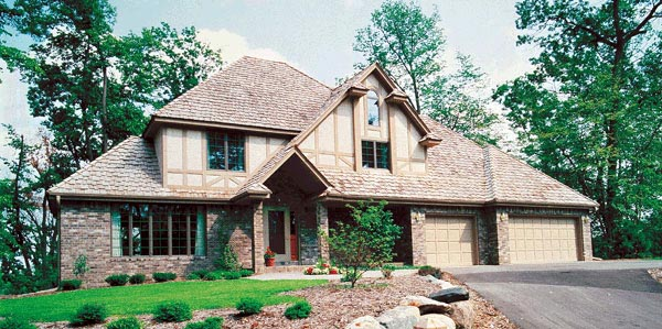 European, Tudor House Plan 34073 with 4 Beds, 3 Baths, 3 Car Garage Elevation