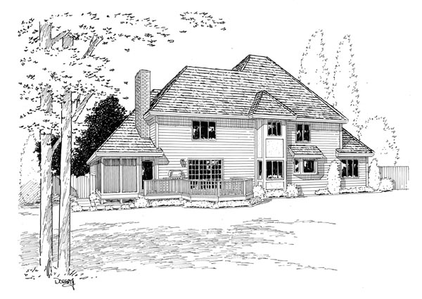 European, Tudor House Plan 34073 with 4 Beds, 3 Baths, 3 Car Garage Rear Elevation