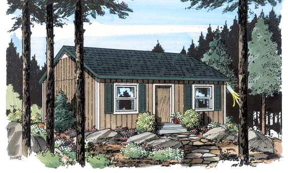 Cabin, Cottage, Traditional House Plan 34075 with 2 Beds, 1 Baths Elevation
