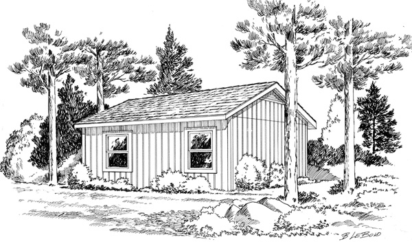 Cabin, Cottage, Traditional House Plan 34075 with 2 Beds, 1 Baths Rear Elevation