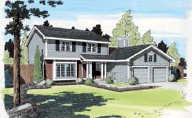 Traditional House Plan 34079 with 4 Beds, 3 Baths, 2 Car Garage Elevation