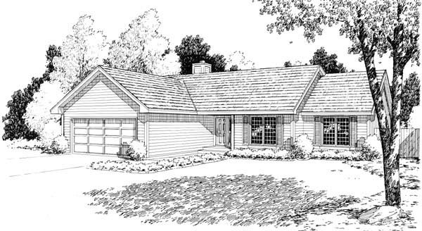 Ranch House Plan 34154 Elevation