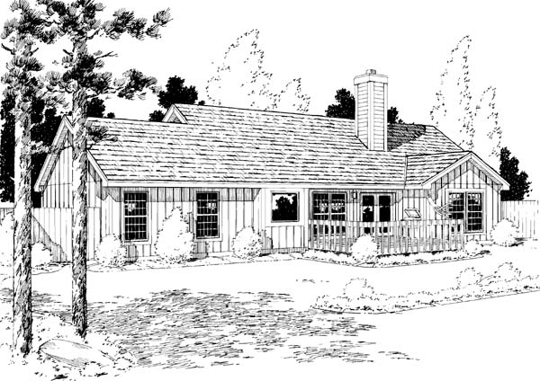 Ranch House Plan 34154 Rear Elevation
