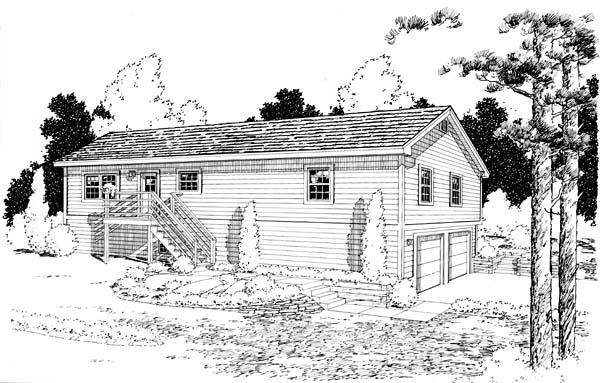 Country Ranch Traditional House Plan 34679 Rear Elevation