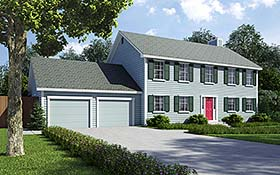Colonial Saltbox Traditional House Plan 34705 Elevation
