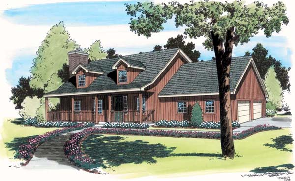 Country , Southern House Plan 34730 with 3 Beds, 3 Baths, 2 Car Garage Elevation