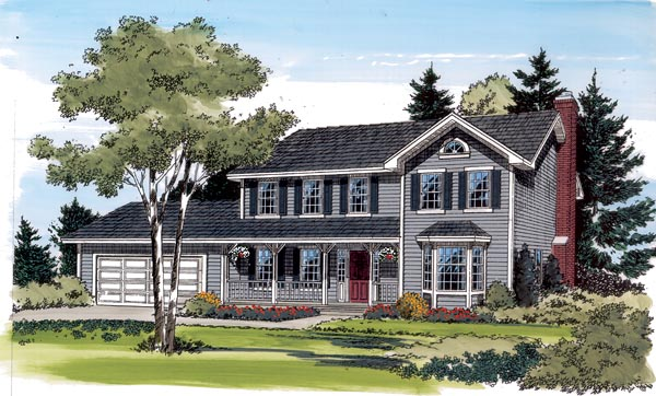 Country, Farmhouse, Traditional House Plan 34776 with 3 Beds, 3 Baths, 2 Car Garage Elevation