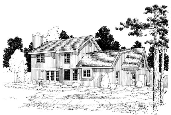 Country, Traditional House Plan 34825 with 3 Beds, 3 Baths, 2 Car Garage Rear Elevation
