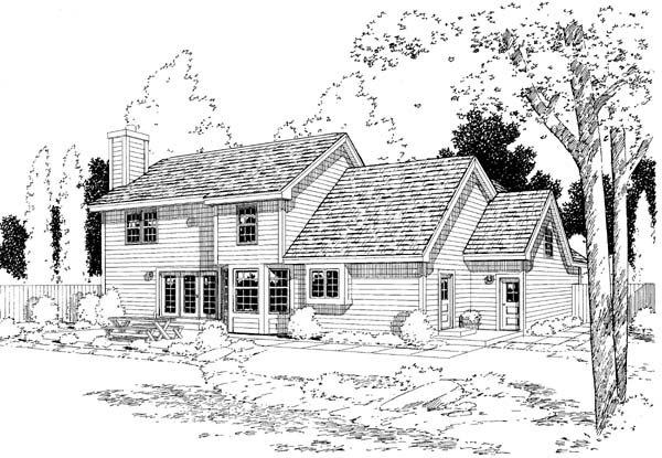 Country Farmhouse Traditional House Plan 34827 Rear Elevation