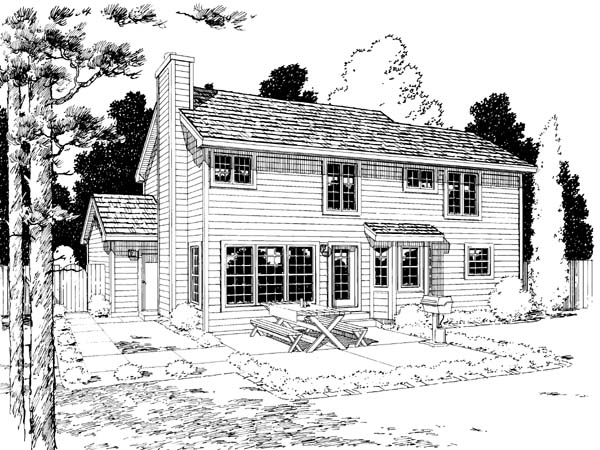 European Traditional Rear Elevation of Plan 34851