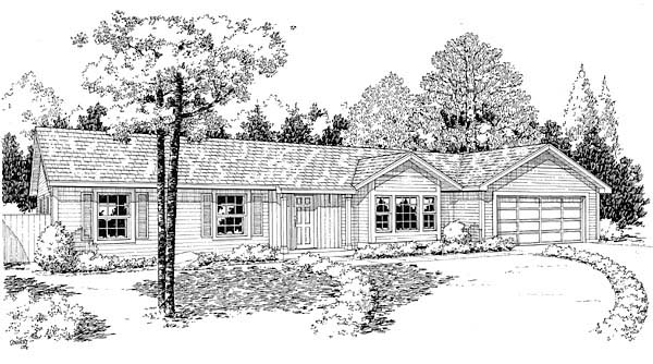 Traditional , Ranch House Plan 34952 with 3 Beds, 2 Baths, 2 Car Garage Elevation