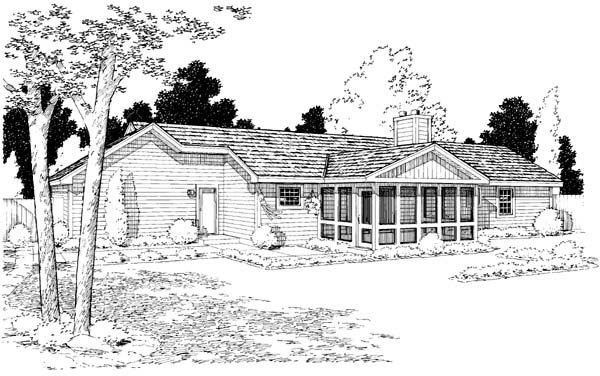 Traditional , Ranch House Plan 34952 with 3 Beds, 2 Baths, 2 Car Garage Rear Elevation
