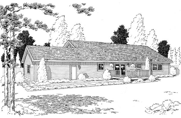 Ranch Traditional House Plan 35003 Rear Elevation