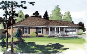 Contemporary Ranch Traditional House Plan 35004 Elevation