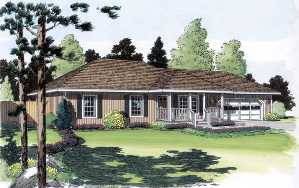 Contemporary One-Story Ranch Traditional Elevation of Plan 35004