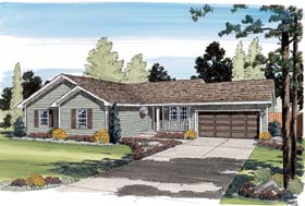 Ranch , Traditional House Plan 35005 with 3 Beds, 2 Baths, 2 Car Garage Elevation
