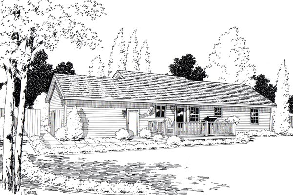 Ranch Traditional House Plan 35006 Rear Elevation