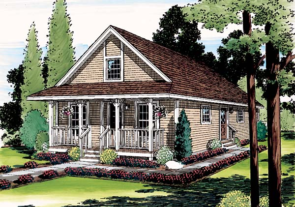 Cottage, Country, Narrow Lot, Southern House Plan 35008 with 3 Beds, 1 Baths Elevation