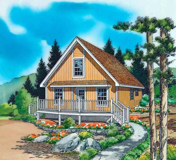 Cabin, Contemporary, Cottage House Plan 35009 with 2 Beds, 1 Baths Elevation