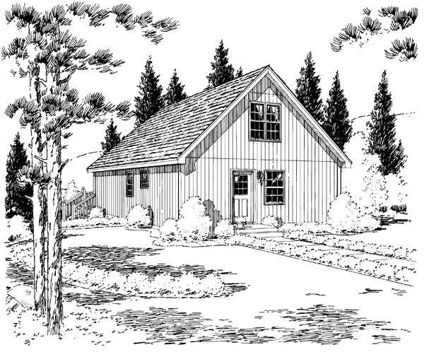 Cabin, Contemporary, Cottage House Plan 35009 with 2 Beds, 1 Baths Rear Elevation