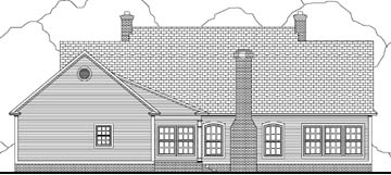 Cape Cod , Country , Southern House Plan 40003 with 3 Beds, 3 Baths, 2 Car Garage Rear Elevation