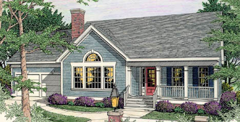 Country , Ranch House Plan 40004 with 3 Beds, 3 Baths, 2 Car Garage Elevation
