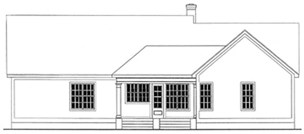 Country , Ranch House Plan 40004 with 3 Beds, 3 Baths, 2 Car Garage Rear Elevation