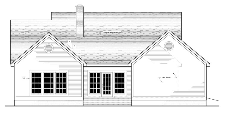 Country European Ranch House Plan 40006 Rear Elevation
