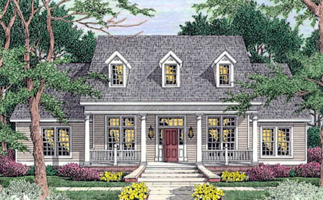 House Plan 40007 | Cape Cod Country Southern Style Plan with 2465 Sq Ft, 4 Bedrooms, 3 Bathrooms, 2 Car Garage Elevation