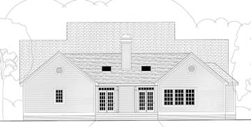 House Plan 40007 | Cape Cod Country Southern Style Plan with 2465 Sq Ft, 4 Bedrooms, 3 Bathrooms, 2 Car Garage Rear Elevation