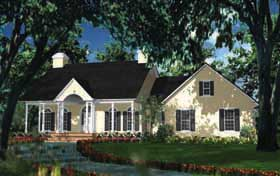 House Plan 40013 | Cape Cod Colonial European Style Plan with 2046 Sq Ft, 3 Bedrooms, 3 Bathrooms, 2 Car Garage Elevation