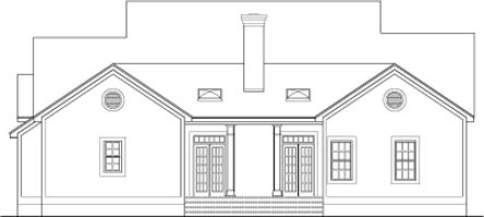 Colonial Country Southern House Plan 40014 Rear Elevation