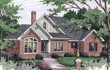 Bungalow , European House Plan 40017 with 3 Beds, 2 Baths, 2 Car Garage Elevation