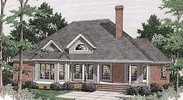 Bungalow , European House Plan 40017 with 3 Beds, 2 Baths, 2 Car Garage Rear Elevation