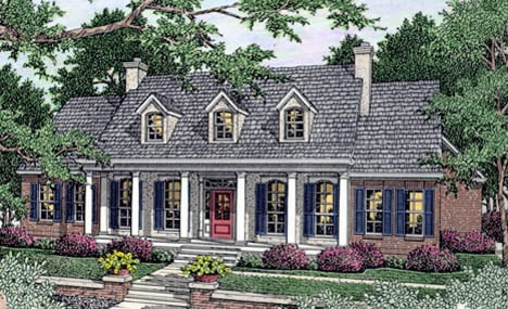 Cape Cod, Colonial, Southern House Plan 40018 with 3 Beds, 2 Baths, 2 Car Garage Elevation