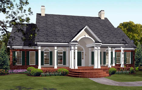 Colonial European Southern Elevation of Plan 40019