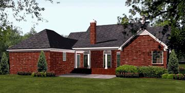 Colonial European Southern Rear Elevation of Plan 40019