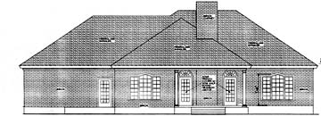 Colonial European House Plan 40021 Rear Elevation