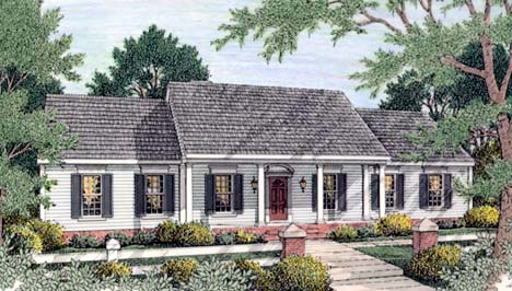Colonial , Ranch House Plan 40022 with 3 Beds, 2 Baths, 2 Car Garage Elevation