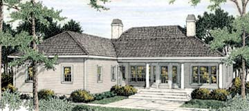Colonial European House Plan 40023 Rear Elevation