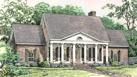 Colonial European Southern Elevation of Plan 40024