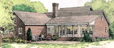Colonial European Southern Rear Elevation of Plan 40024