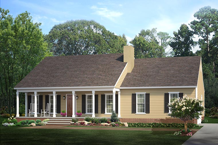 Country, Ranch House Plan 40026 with 3 Beds , 2 Baths , 2 Car Garage Elevation