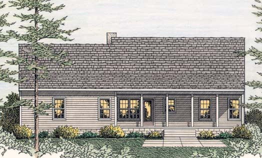 Country, Ranch House Plan 40026 with 3 Beds , 2 Baths , 2 Car Garage Rear Elevation
