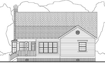 Cape Cod Country Rear Elevation of Plan 40032