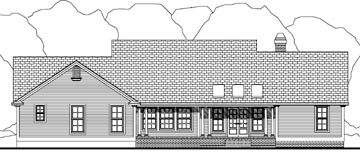 Country House Plan 40033 with 3 Beds , 3 Baths , 2 Car Garage Rear Elevation