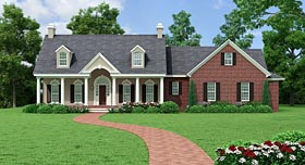 Colonial , Country , Ranch , Traditional House Plan 40037 with 3 Beds, 3 Baths, 2 Car Garage Elevation