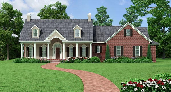 Colonial Country Ranch Traditional House Plan 40037 Elevation